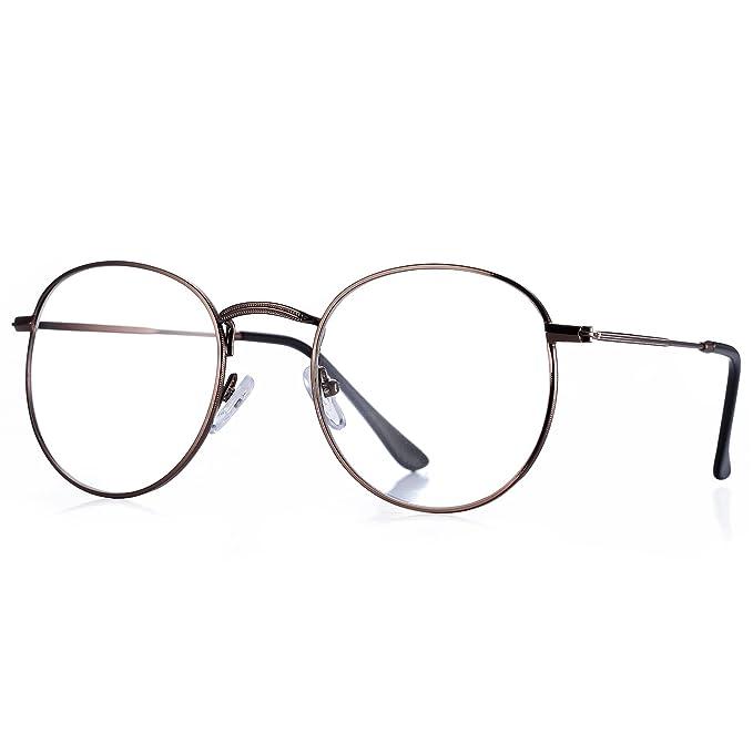 48e6fd469a Pro Acme Classic - anteojos de lentes redondas de metal transparente  unisex, Bronce, Small