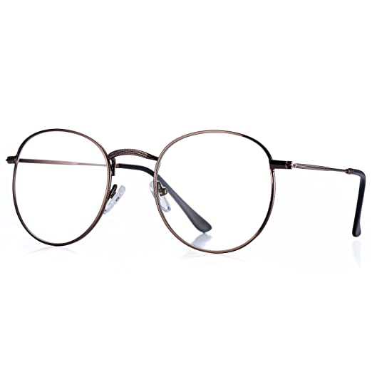 8901970fb5 Pro Acme Classic Round Metal Clear Lens Glasses Frame Unisex Circle  Eyeglasses (Bronze)