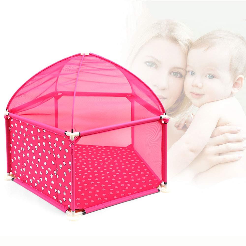 赤ちゃんの遊び場、幼児と赤ちゃんのための子供の遊び場、屋内と屋外、子供の安全のためのベスト5パネルの赤ちゃんの遊び場フェンスボールピットテントの遊び場  Pink B07KMSFRFM
