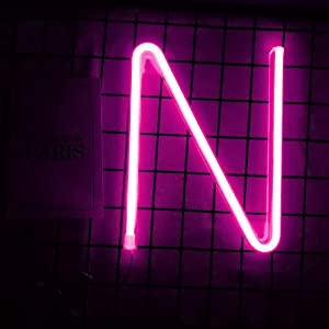 Smilco Light Up Marquee Letter Neon Sign,Pink 26 Alphabe Wall Decor Number with USB and Battery Powered Lights for Wedding Birthday Cheristmas Party Bedroom Decoration (N)