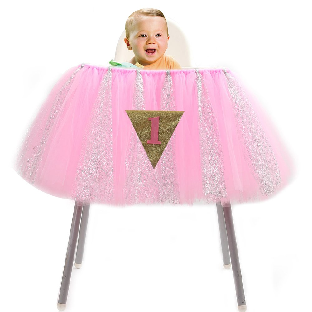 Haperlare 36 x 14 inch Christmas Chair Skirt Tutu Skirt Handmade Baby 1st Birthday High Chair Skirt with Glitter Pink Tulle Table Skirt for Christmas Baby Shower Decorations with 1 Triangle Flag
