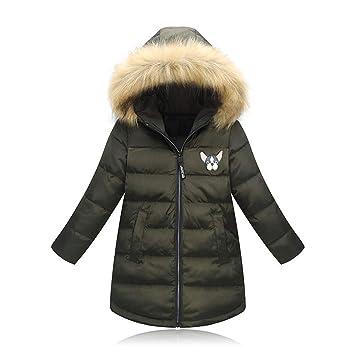 Abrigo para Niñas Cuello De Piel Grueso, Chaqueta Larga Abajo, Otoño E Invierno, Versión Coreana, Top Cálido,Green,120Cm: Amazon.es: Hogar