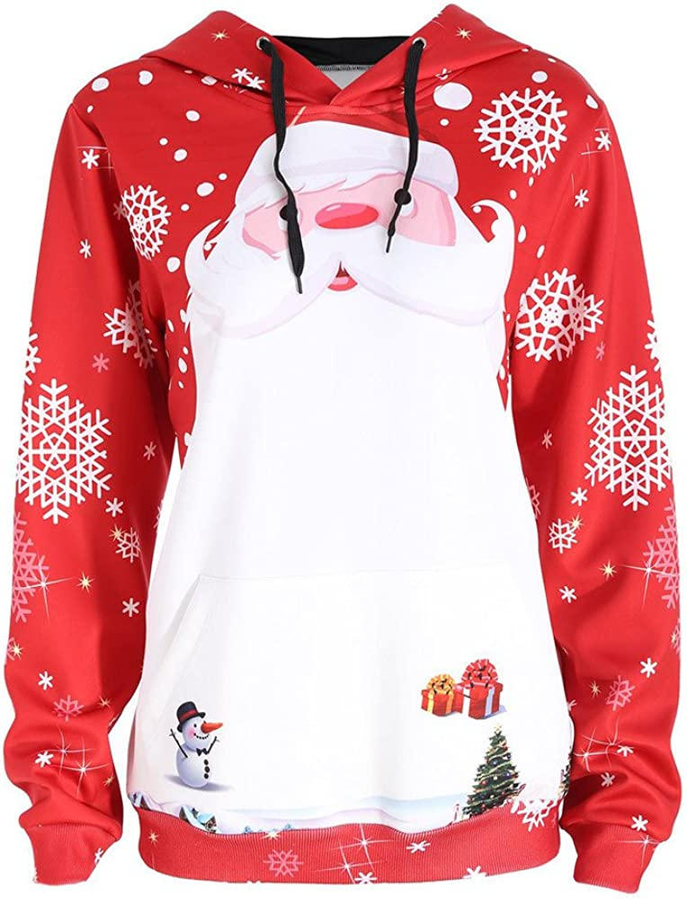 AOJIAN Womens Ugly Christmas Sweater Long Sleeve Hoodie Santa Claus Snowflake Printing Hooded Sweatshirt Pullover