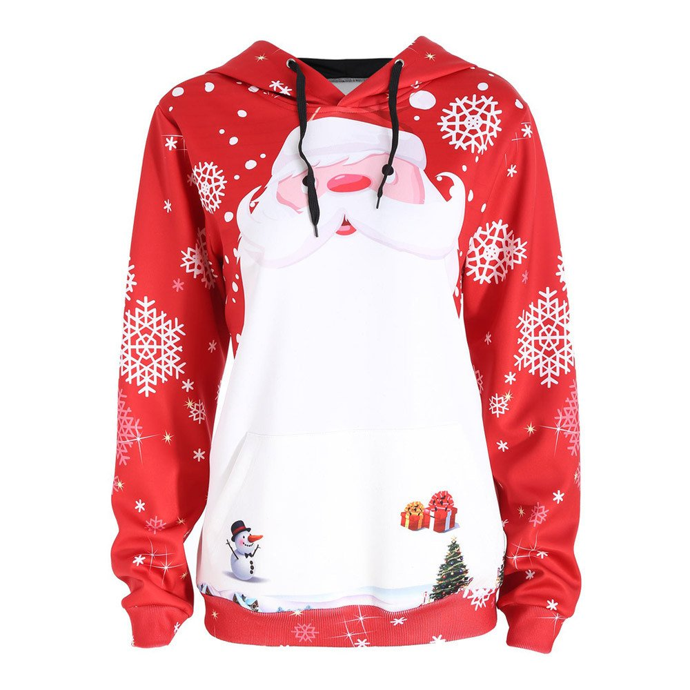 FEDULK Sale Christmas Hooded for Women Santa Claus Print Snowman Gifts Snowflake Pullover Sweatshirt(Red,US Size L = Tag XL)