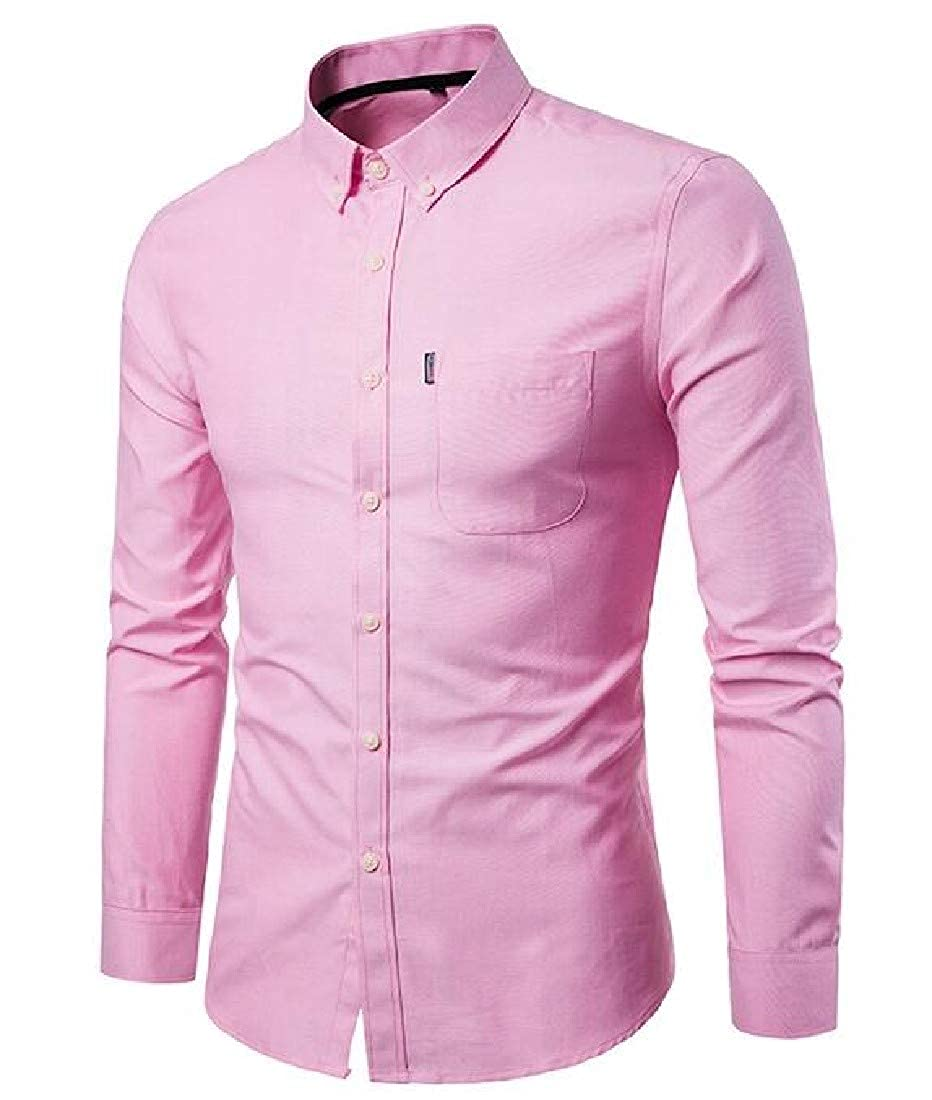 YUNY Mens Solid Turn-Down Collar Long Sleeve Business Classic Shirt AS1 S