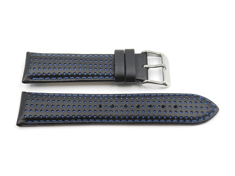 22 mmブラックDot Pattern Padded Italian Calf Skin Watch Band  B07143D6CK