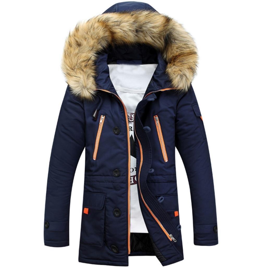 Toamen Unisex Women Men Warm Winter Cotton Fleece Lined Parka Faux Fur Hooded Jacket Coat, Long Warm Thick Jacket Coat