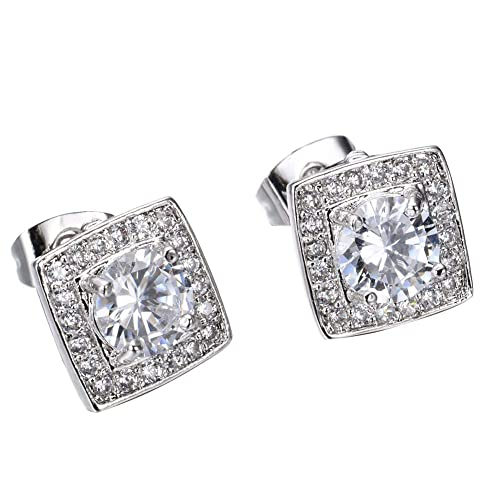 86232bd36 Image Unavailable. Image not available for. Color: Adeser Jewelry Girls White  Gold Plated Promise Stud Engagement Lab White Diamonds ...