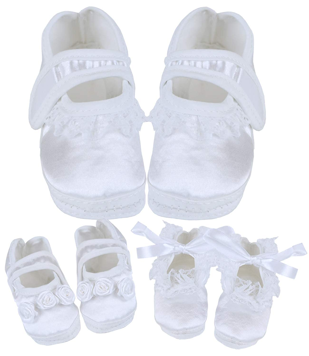 3 Months BabyPrem Baby Girls Christening Shoes Bootees Satin Clothes Newborn