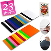 "Heat Transfer Vinyl HTV Bundle Variety Pack Assortment for T Shirts Fabric 12x10"" 23 Sheets Iron On Vinyl Colored Starter Kit for Silhouette Cameo and Cricut Bonus 1 Weeding Tweezers"