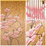 "BeadedString Natural Bamboo Wood Beaded Curtain-90 Starnds-80"" High-Boho Door Beads-Bohemian Doorway Curtain-35.5"" Wx80"" H-Blossom"