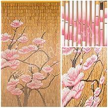 "BeadedString Natural Bamboo Wood Beaded Curtain-90 Starnds-80"" High-Boho Door Beads-Bohemian Doorway Curtain-35.5"" Wx80"" H-Blossom"