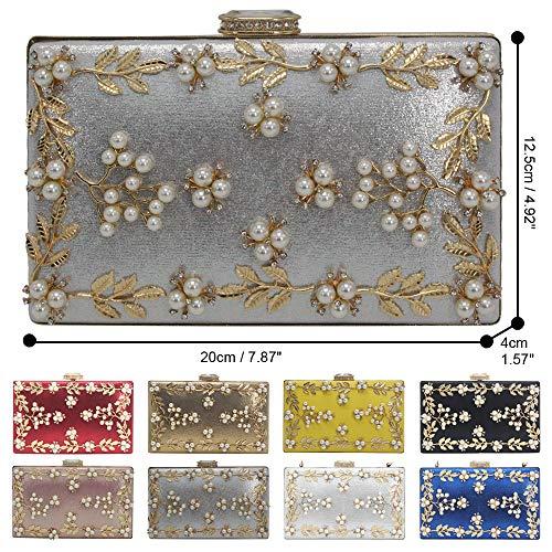 Wocharm Bag Women's Handbag Wedding Evening Rhinestone Silver Pearl Party Prom Shoulder rrdO7z6qw