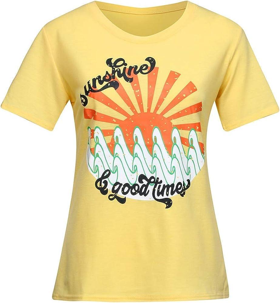 WDTSA - Camiseta de Manga Corta para Mujer, diseño de Letras Amarillas - - X-Large: Amazon.es: Ropa y accesorios