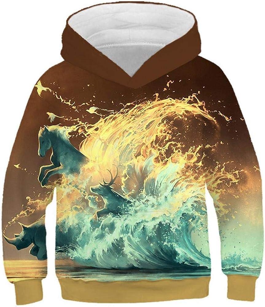 Sudadera con Capucha para Niños Surf Corriendo A Caballo Impresión 3D Casual para Niños Camisa Niñas De Manga Larga Unisex con Capucha De Otoño E Invierno 2-12 Años,
