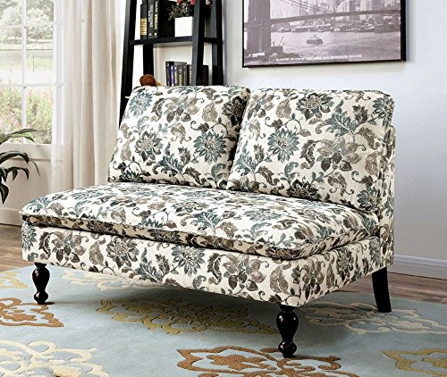 - Kenzie Floral Pattern Fabric Bench by Furniture of America