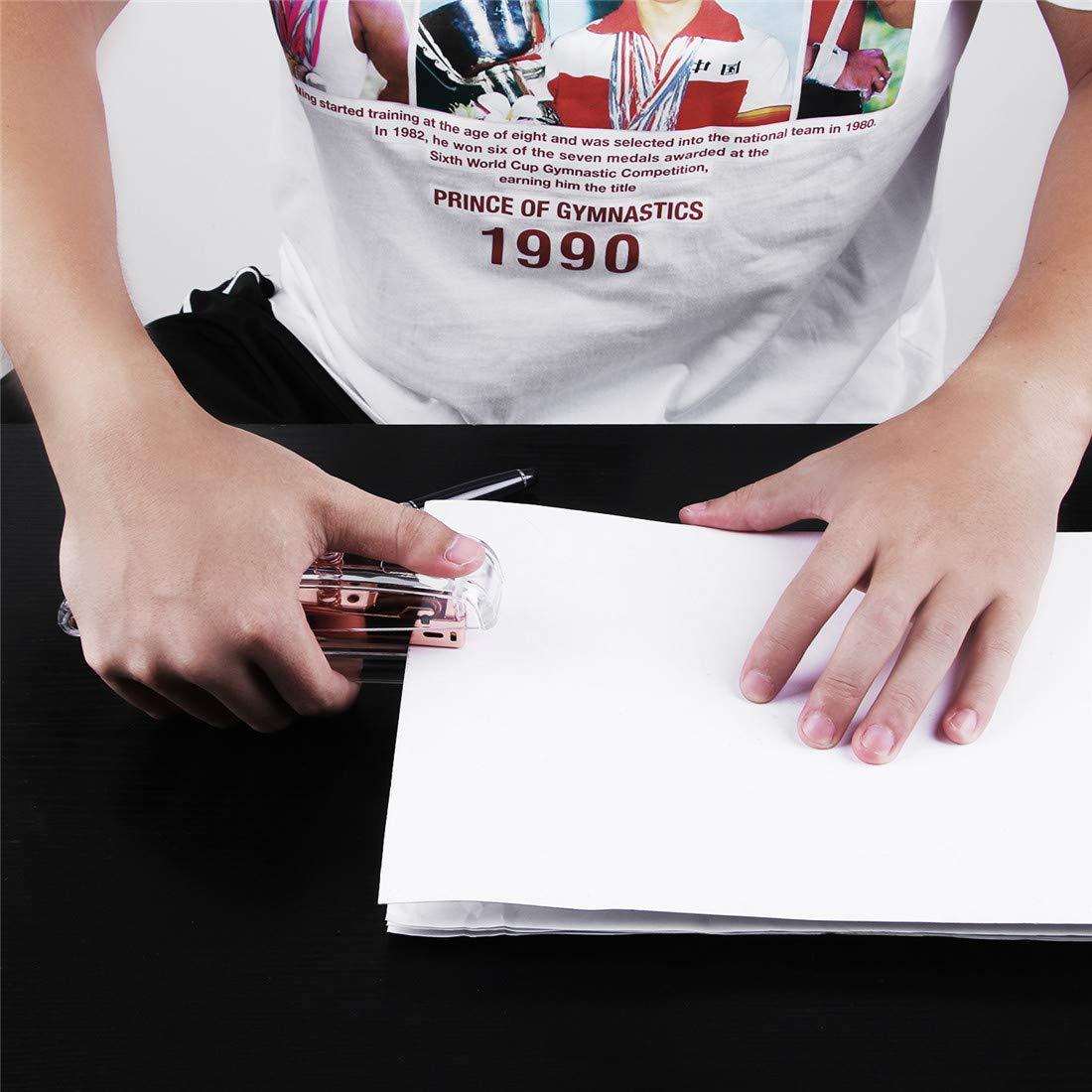 EFISH Agrafeuse de bureau, agrafeuse de bureau à ressort transparent avec agrafes 1000 pièces - Or rose