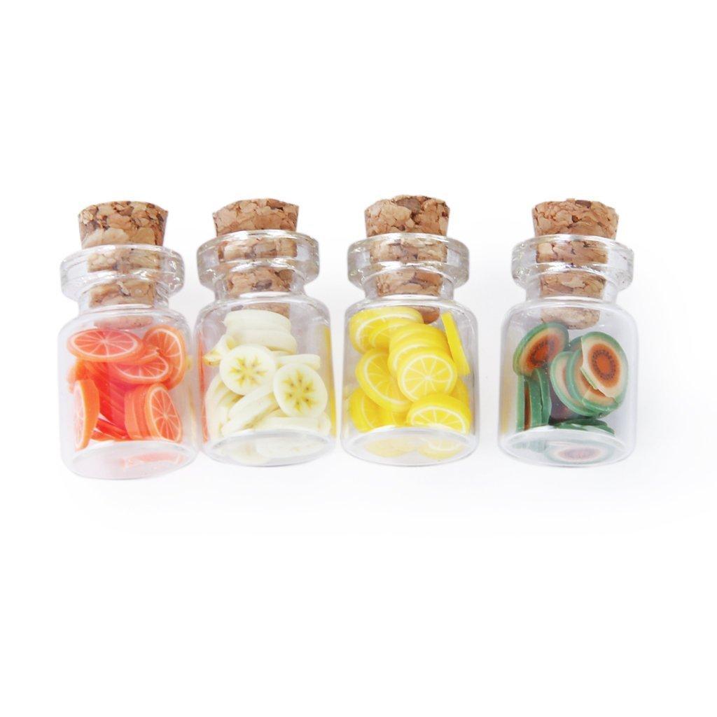 Fengh set di pezzi 1: 12scale Dollhouse barattolo con coperchio fette di frutta in legno