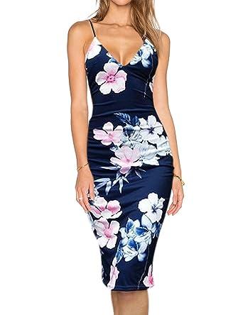 KOJOOIN Damen Kleid Figurbetontes Kleid Sommerkleid Etuikleid Blumenmuster Knielang  Dunkel Blau XL  Amazon.de  Bekleidung cfef0bf570