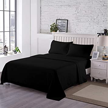 """Black King Size Bed 10/"""" Deep Fitted Sheet 150 TC Poly Cotton"""