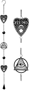 Ebros Ouija Board Planchette and All Seeing Eye of Providence Black Coated Steel Metal Wall Hanging Wind Chime with Beads Home and Patio Decor Wicca Occult Mobile Noisemaker
