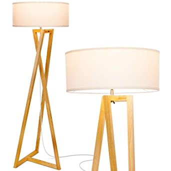 Brightechz Wood Tripod Rustic Floor Lamp Mid Century Modern Standing Led Light For Living Rooms Tall Lighting For Contemporary Bedrooms