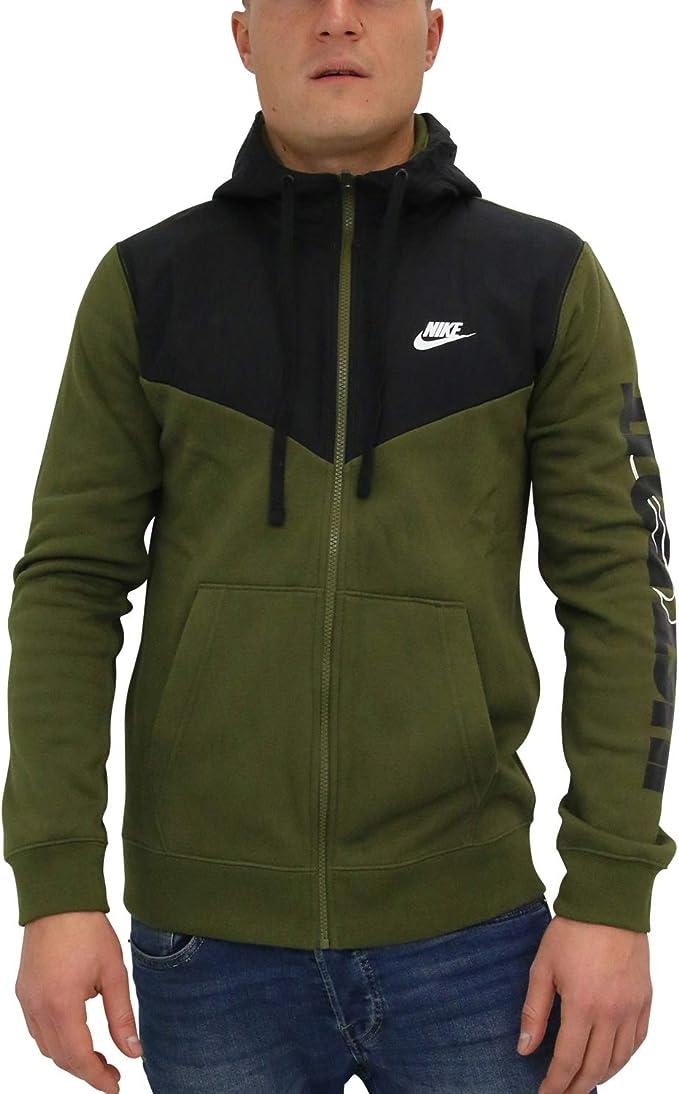 Felpa Con Cappuccio E Zip A Tutta Lunghezza Nike Sportswear Uomo Olive
