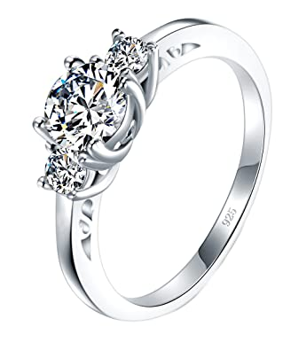7c37d2d75 BORUO 925 Sterling Silver Ring, Cubic Zirconia CZ Diamond Eternity  Engagement Wedding Band Ring Size