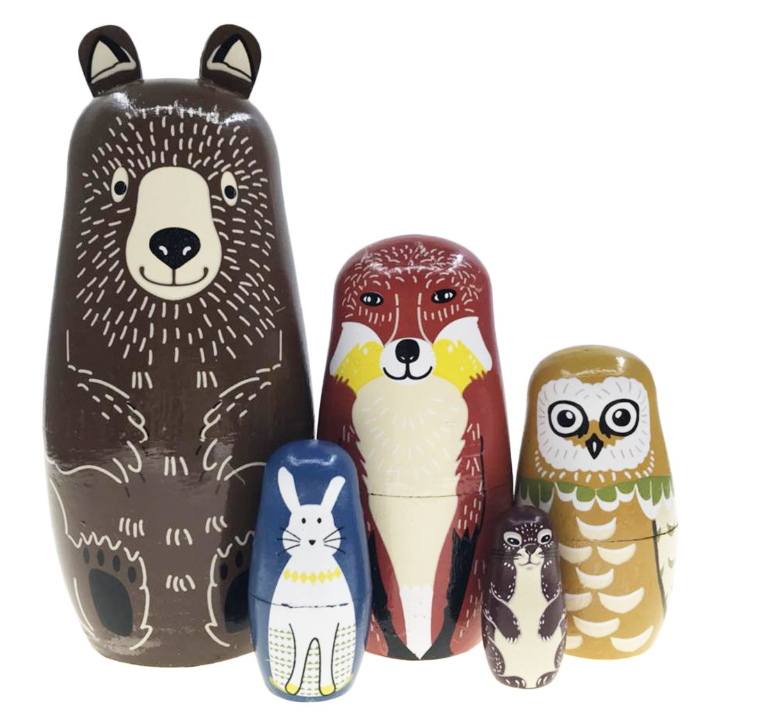 Arsdoll Cartoon Brown Bear Fox Owl Rabbit Raccoon Nesting Doll Wooden Matryoshka Russian Doll Handmade Stacking Toy Set 5 Pieces for Kids Girl Home Decoration by Alrsodl