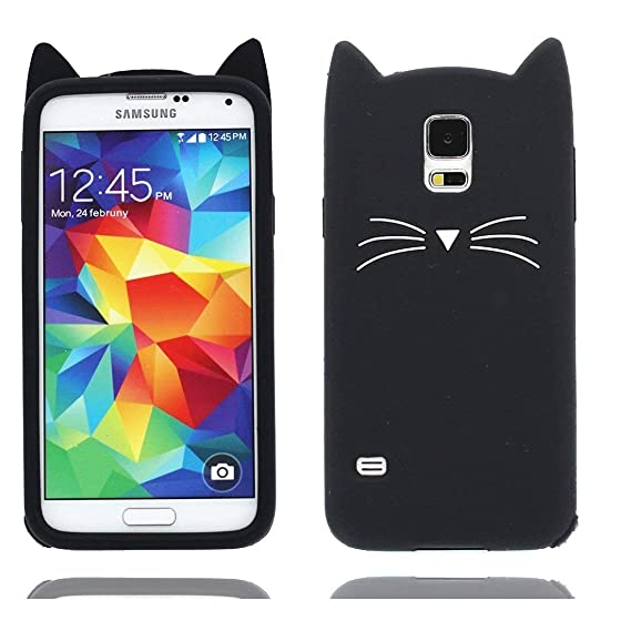 online retailer 1b7bb 84914 Mulafnxal Case for Samsung Galaxy S5,Soft Silicone 3D Cartoon Animal Cat  Slim Cover, Cute Cases Kids Girls Shock Proof Rubber Gel Kawaii Character  ...