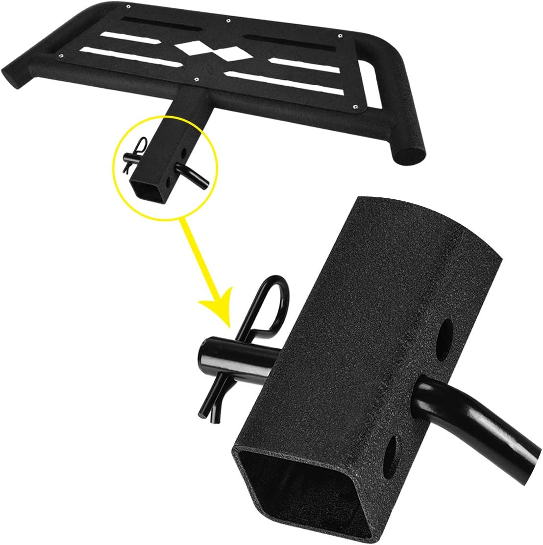 with Pin Lock and Stabilizer Rear Bumper Guard Protector HONGNAL Hitch Armor for Cars with 2-in Hitch Receiver Hitch Step Textured Black