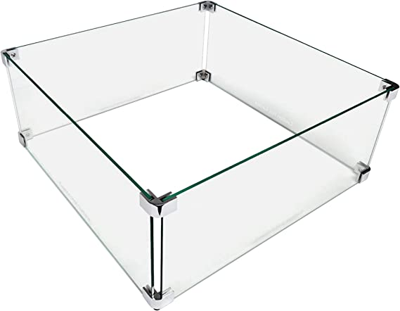Midwest Hearth Fire Pit Wind Guard Glass Shield (Square