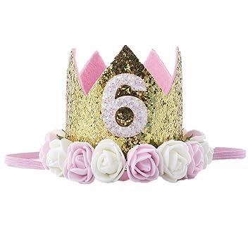 Missley Corona Rosa Flor Corona de Oro Corona de cumpleaños Princesa bebés Corona Cabeza Accesorios de Pelo (6)