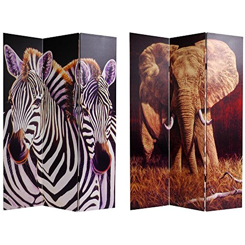 Oriental Furniture 6 ft. Tall Double Sided Elephant and Zebra Canvas Room Divider