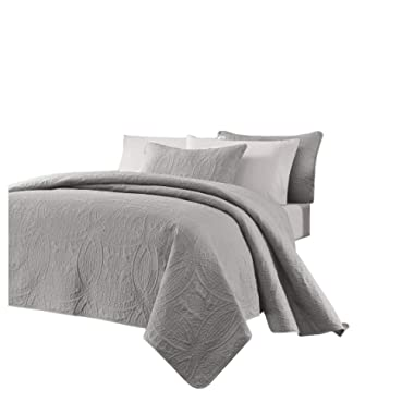 Chezmoi Collection Austin 3-Piece Oversized Bedspread Coverlet Set (King, Gray)