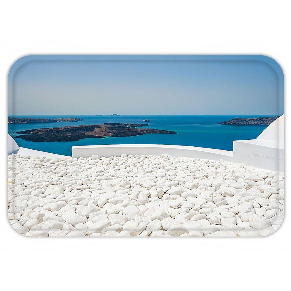VROSELV Custom Door MatTravel Decor Hotel with White StoneSantorini Island Greece Landscape with Sea Turquoise and White