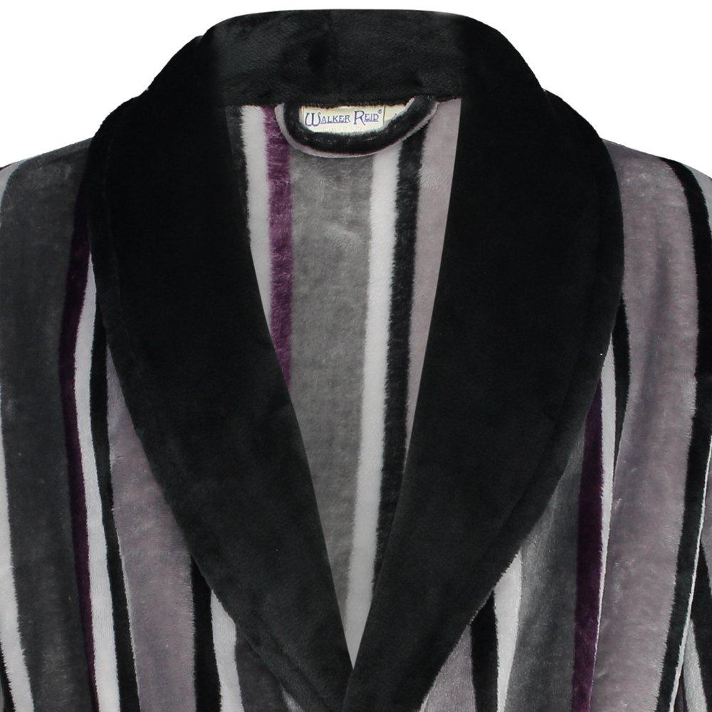Walker Reid Mens Striped Dressing Gown Super Soft Fleece Bath Robe with Pockets Medium - XXXL