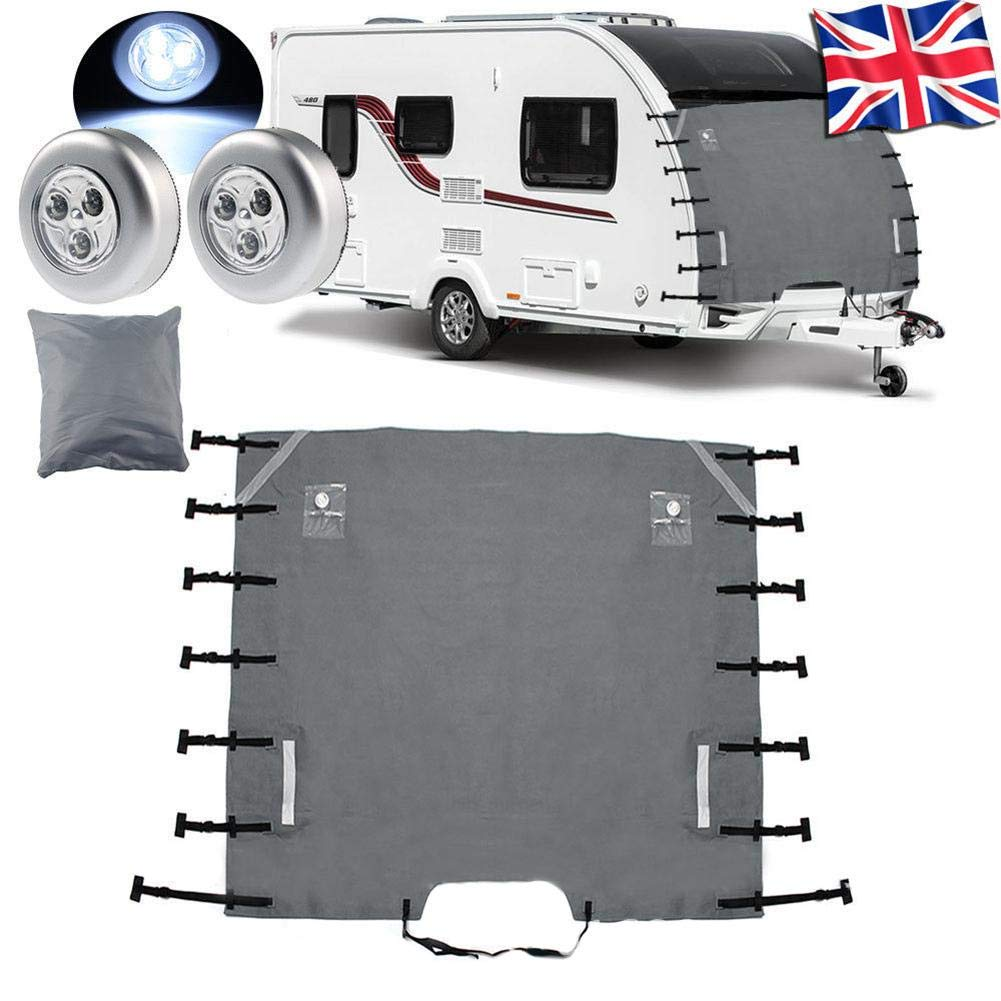 VOVI RV Front Towing Cover with Dustproof Caravan Front Towing Cover with LED Lights Buckle SUV Waterproof Guards Bag Touring Car Reflective Strips for Visibility with All Weather Protection