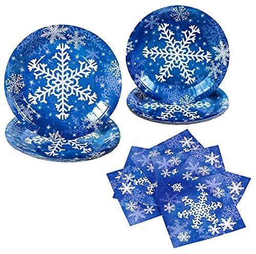 Winter Snowflakes Christmas Dinnerware Set Including Paper Dinner Plates, Paper Dessert Plates, Paper Dessert Napkins and Paper Dinner Napkins, Bundle- 6 Items