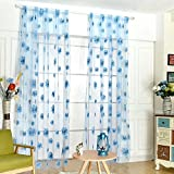 Fedi Apparel Peony Flower Scarf Sheer Voile Door Window Curtains Drape Panel Valances (Blue(Sunflower))