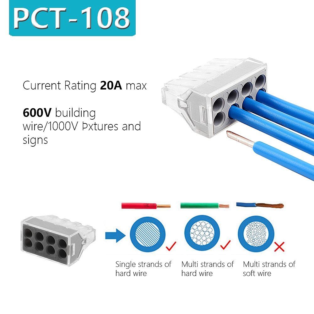Hifrom 8 Port Push In Wire Connector For Junction Boxes Wiring Box Hidden 14 18 Awg 600v Set Of 60pcs Home Audio Theater