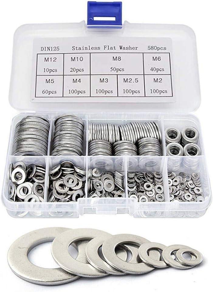 580pcs Flat Washer 304 Stainless Steel Flat Washers Assortment Kit 9 Sizes-M2 M2.5 M3 M4 M5 M6 M8 M10 M12