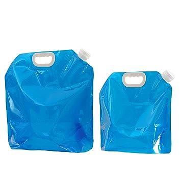 VABNEER 2x Pack Bidón de agua plegable portátil plegable Agua Potable Agua Envase Bolsa Almacenamiento Plegable