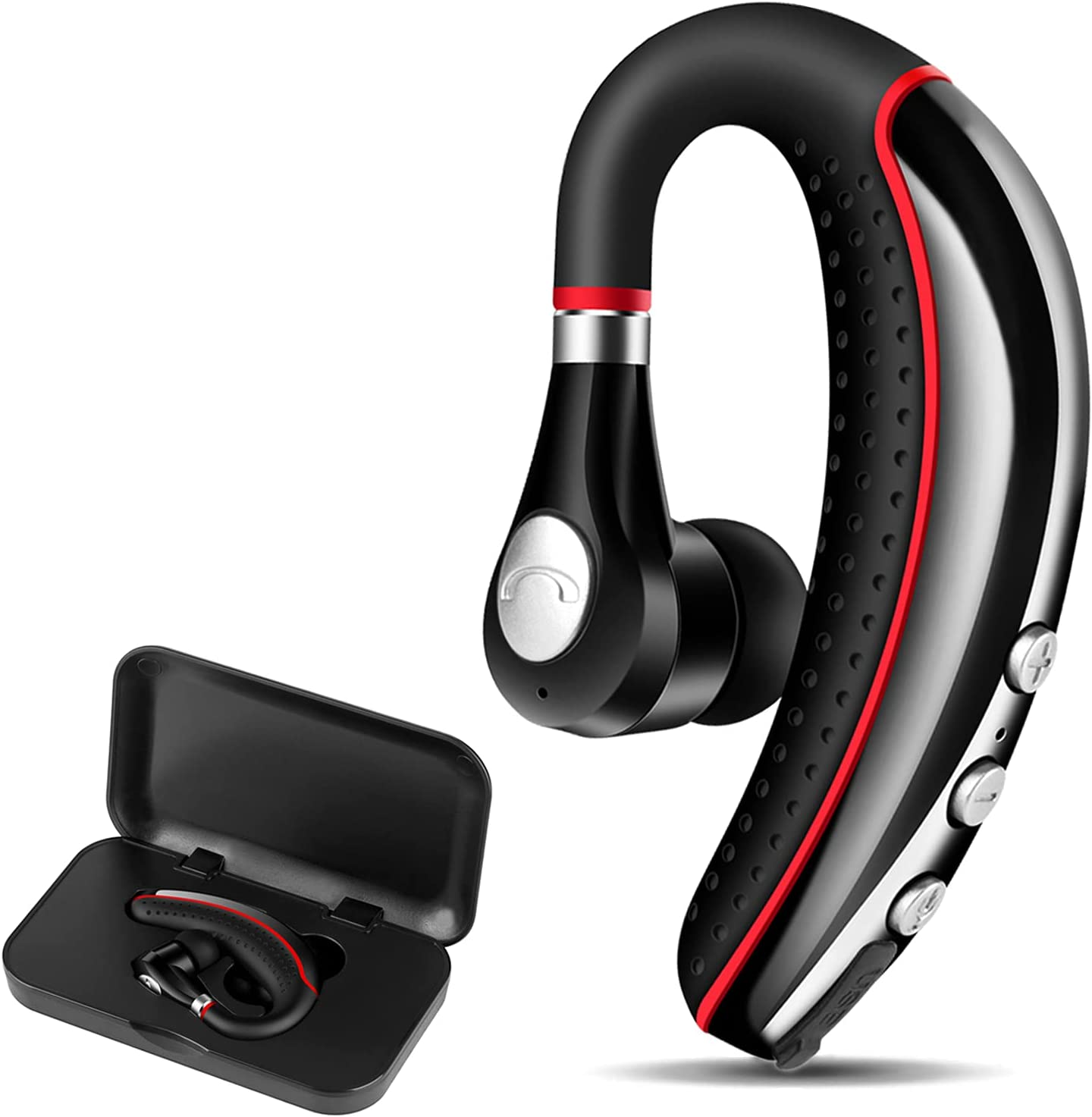 Bluetooth Headset V5.0,Wireless Bluetooth Earpiece with Noise Canceling Mic for Cell Phone,Ultralight Business Earphone for Driving/Trucker/Office,Sweatproof Headset for Android/iPhone/Smartphone