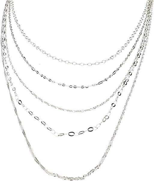 Amazon.com  Sterling Silver Multi-strand Long Layered Chain Necklace Italy 91e03761a