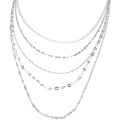 Sterling Silver Multi-Strand Long Layered Chain Necklace Italy c35dda8a6