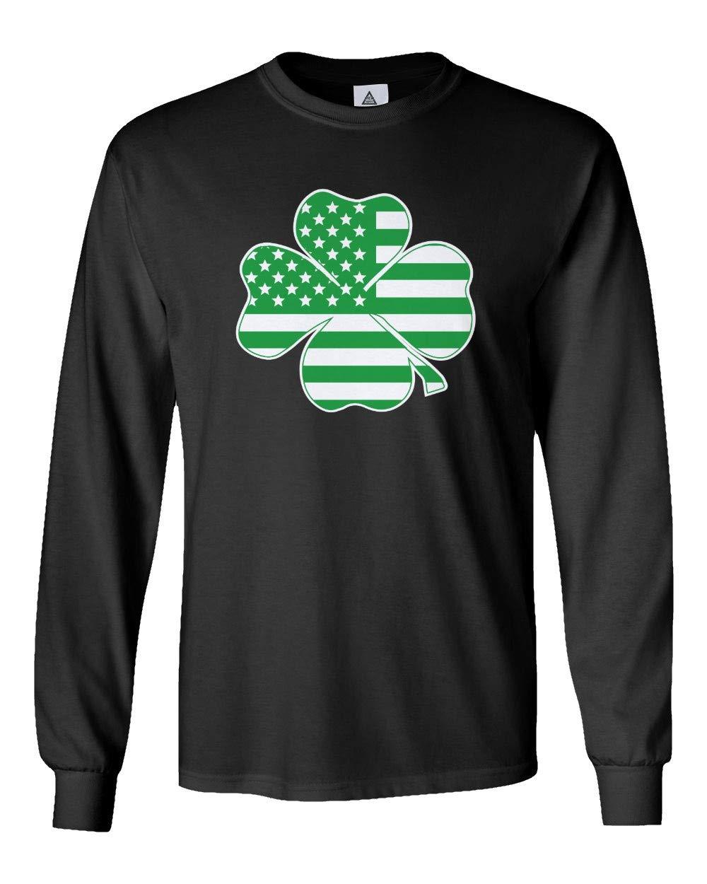 Sheki Apparel Irish American Flag Vintage Shamrock St Patricks Day Men's Shirts