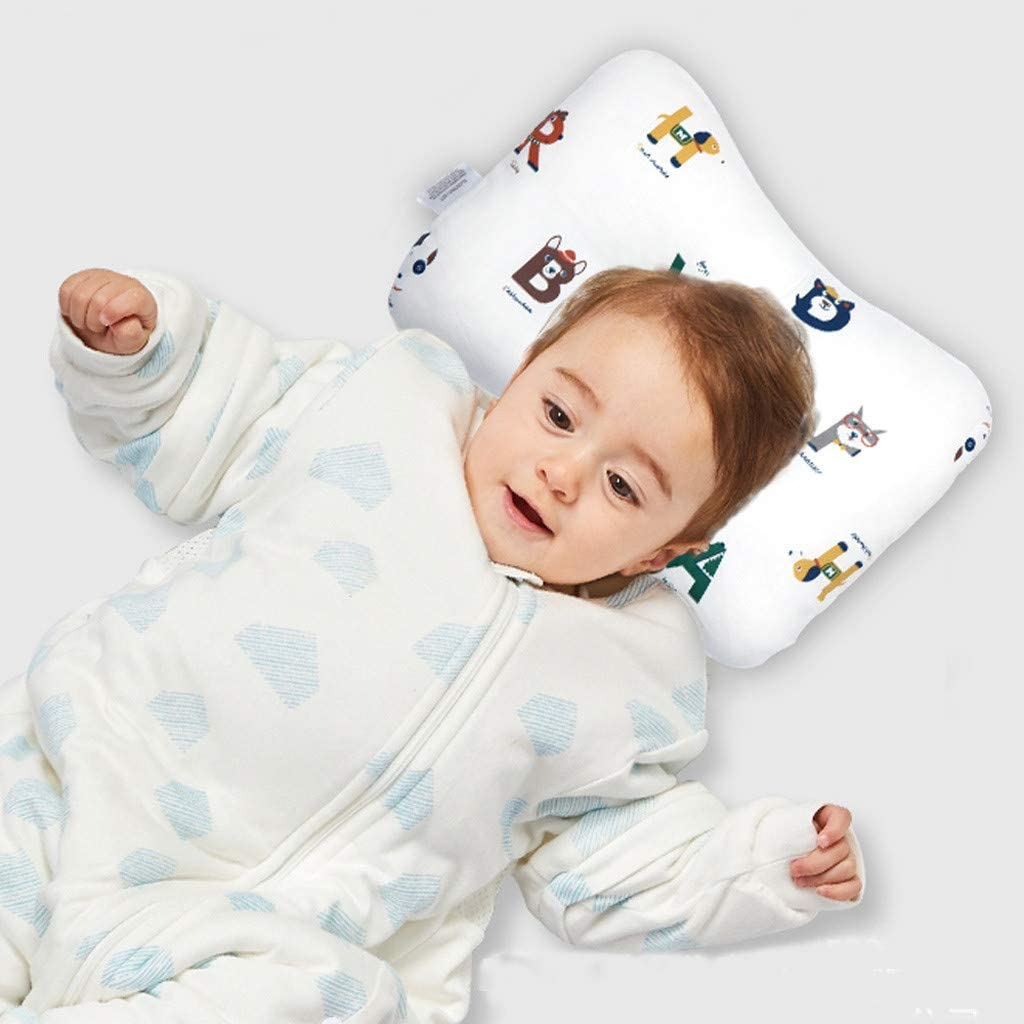 Comfortable Breathable Cushion for Head and Neck Support Forest Double-Sided Available 0-12 Months Flat Head Syndrome Pillow NIUXUAN Newborn Baby Head Pillow