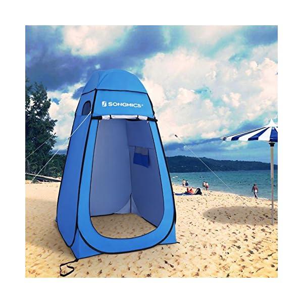 618 ZIVhCBL SONGMICS Pop-Up-Zelt, Toilettenzelt, Umkleiderzelt, für Outdoor, Camping, Angeln, Strand, Dusche, Toilette, Tragetasche…