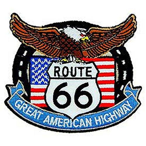 Route Eagle 66 - EagleEmblems PM3179 Patch-Route 66,Eagle/Flag (3'')